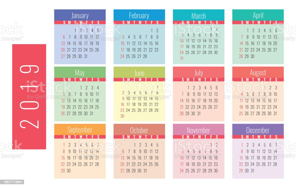 Calendario 2019 Con Numero Week.Calendar 2019 Colorful Bright And Cute Week Starts On Sunday