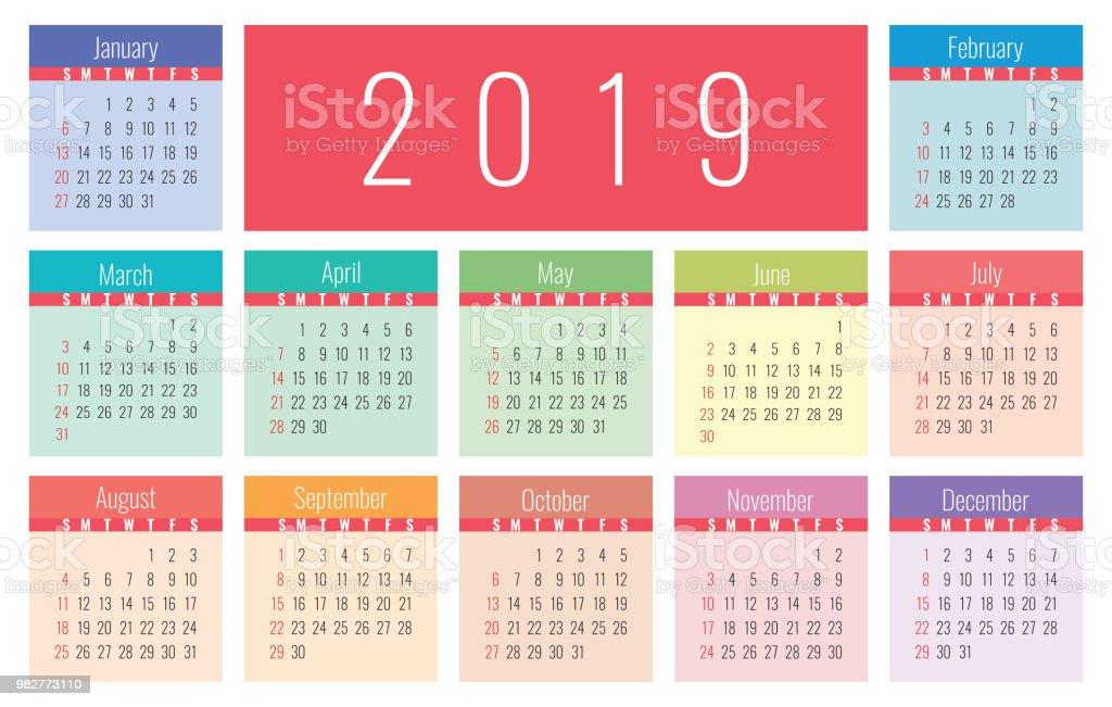 Calendario Dezembro 2019 Bonito.Vetores De Calendario 2019 Colorido Brilhante E Bonito