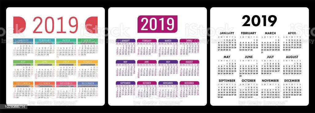 Semaine 34 Calendrier 2019.Calendrier 2019 Anglais Colores Vecteur Calendrier Ensemble