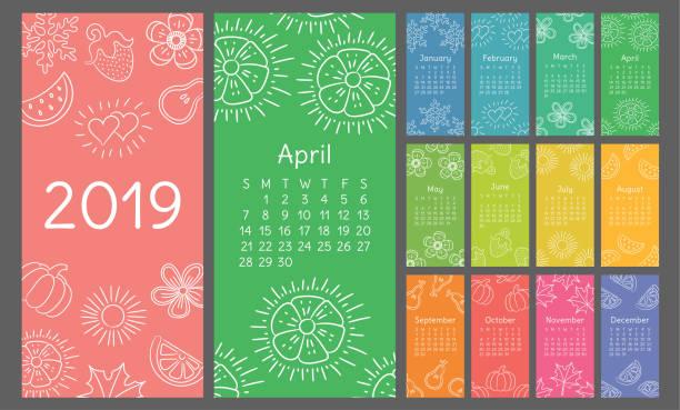 ilustraciones, imágenes clip art, dibujos animados e iconos de stock de calendario 2019 colorido boceto dibujado a mano. flor, corazón, hoja, fresa, sandia, sol, copo de nieve, calabaza, pera. ilustración de pincel fino - calendario de naturaleza