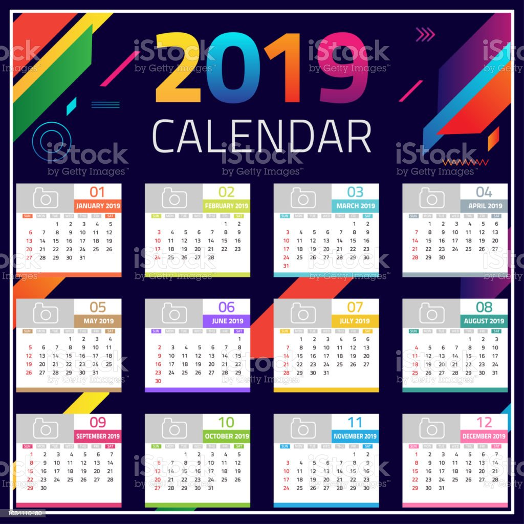 Calendar Design Ideas Vector : Calendar colorful set desk and wall