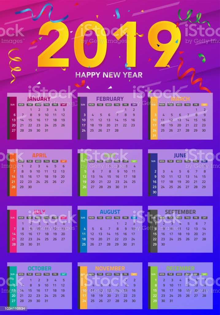 Calendar 2019 Colorful Set Set Desk And Wall Calendar Template