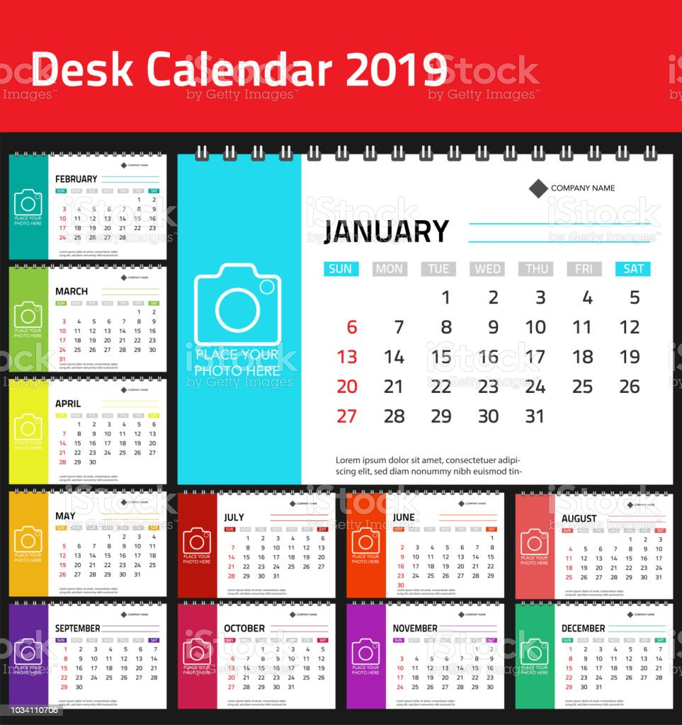 Calendar 2019 Colorful Set Set Desk And Wall Calendar Template