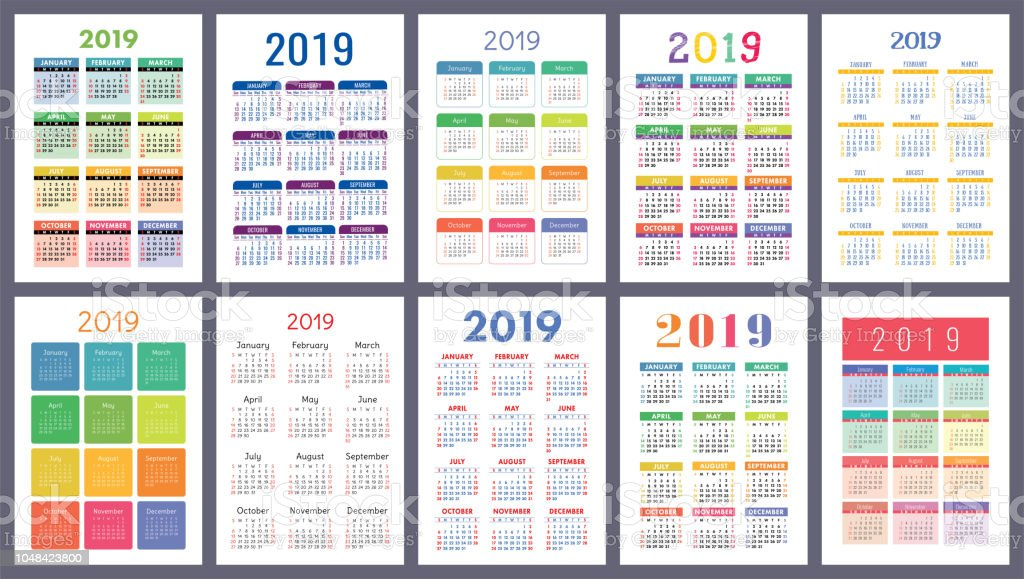 Calendar 2019. Colorful set. Week starts on Sunday. Basic grid. English vector calender collection for print. New year. Color simple design royalty-free calendar 2019 colorful set week starts on sunday basic grid english vector calender collection for print new year color simple design stock illustration - download image now