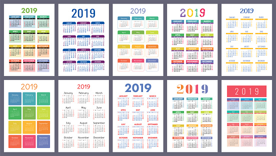 Calendar 2019 Colorful Set Week Starts On Sunday Basic Grid English Vector Calender Collection For Print New Year Color Simple Design Stock Illustration - Download Image Now