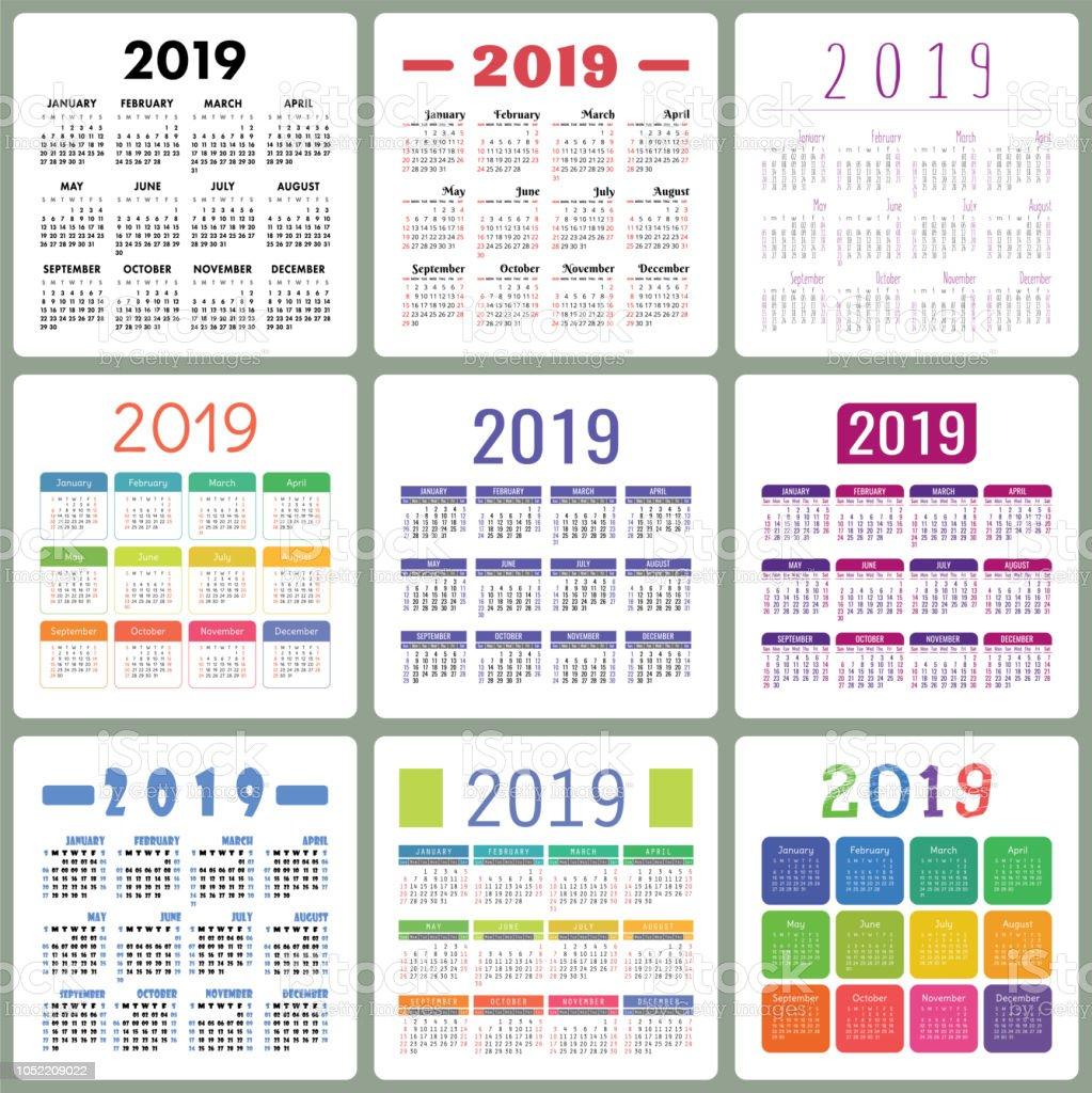 Calendario Con Semanas 2019 Para Imprimir.Ilustracion De Calendario 2019 Colorido Juego La Semana