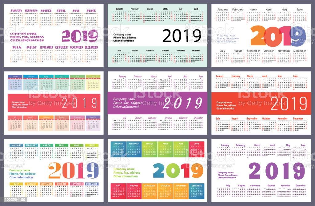 Ilustracion De Calendario 2019 Colorido Juego La Semana Comienza El
