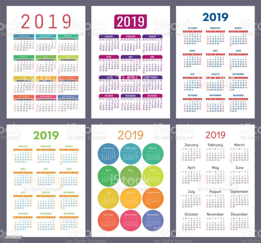 Calendario 2019 Con Numero Week.Calendar 2019 Colorful Set Week Starts On Sunday Basic Grid