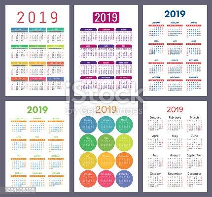 Imagen De Calendario 2019 Colorido Juego La Semana Comienza El