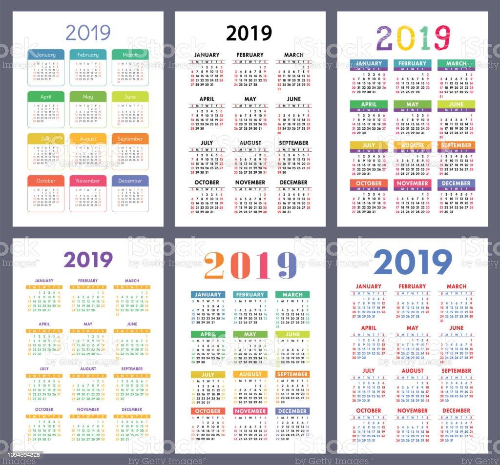 Semaine 45 Calendrier.Calendrier 2019 Ensemble Colore La Semaine Commence Le