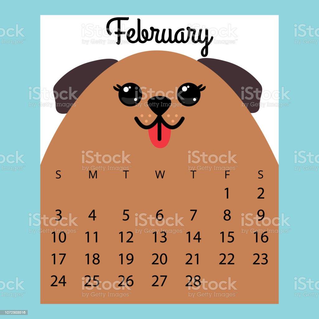 February 2019 Calendars Dog Calendar 2019 Cute Funny Cartoon Dogfebruary Winter Month Stock
