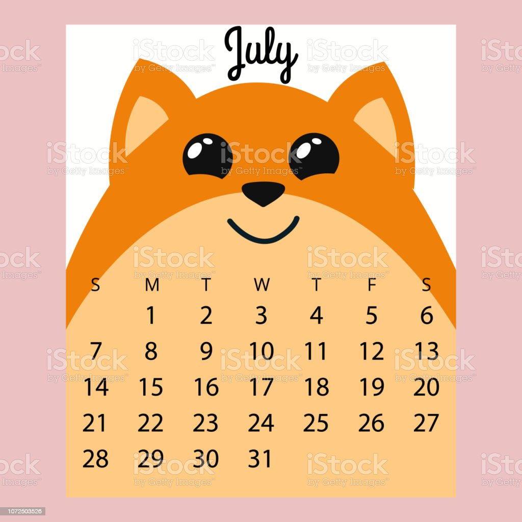 Calendario Julio 2019 Vector.Calendar 2019 Cute Funny Cartoon Foxjuly Summer Month Stock