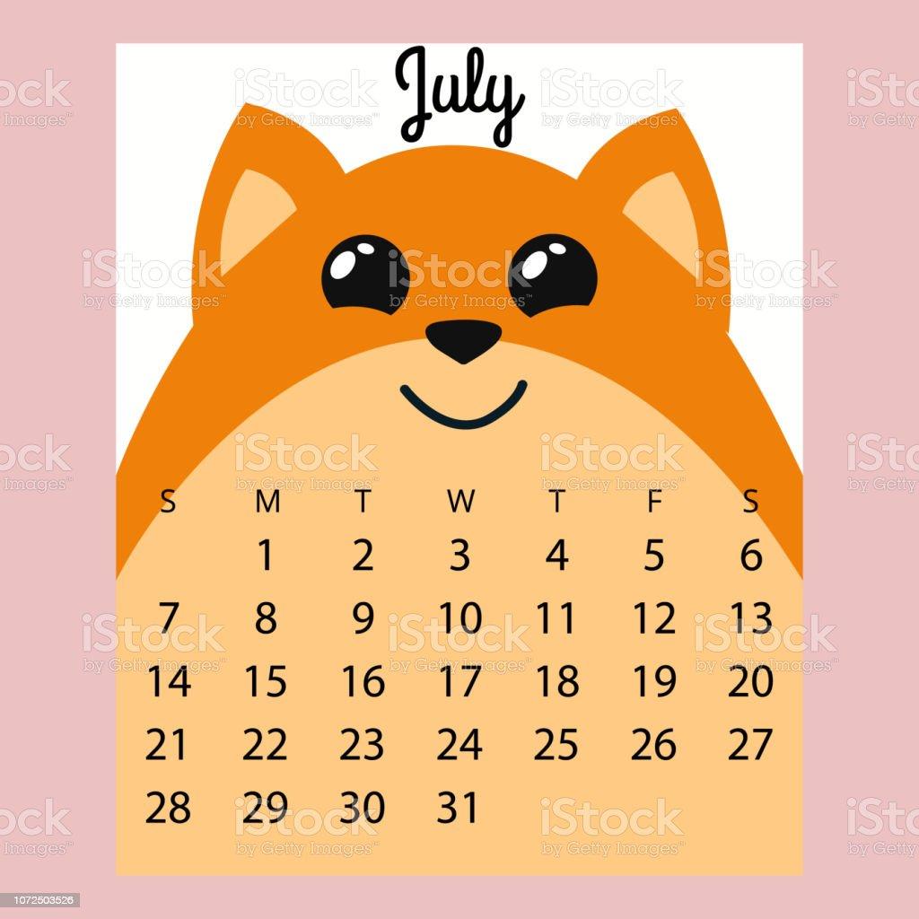 Calendario Fox.Calendar 2019 Cute Funny Cartoon Foxjuly Summer Month Stock