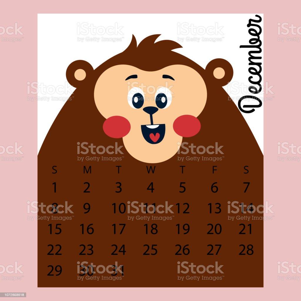 Calendario Dezembro 2019 Bonito.Vetores De Calendario 2019 Macaco Bonito Desenho Animado