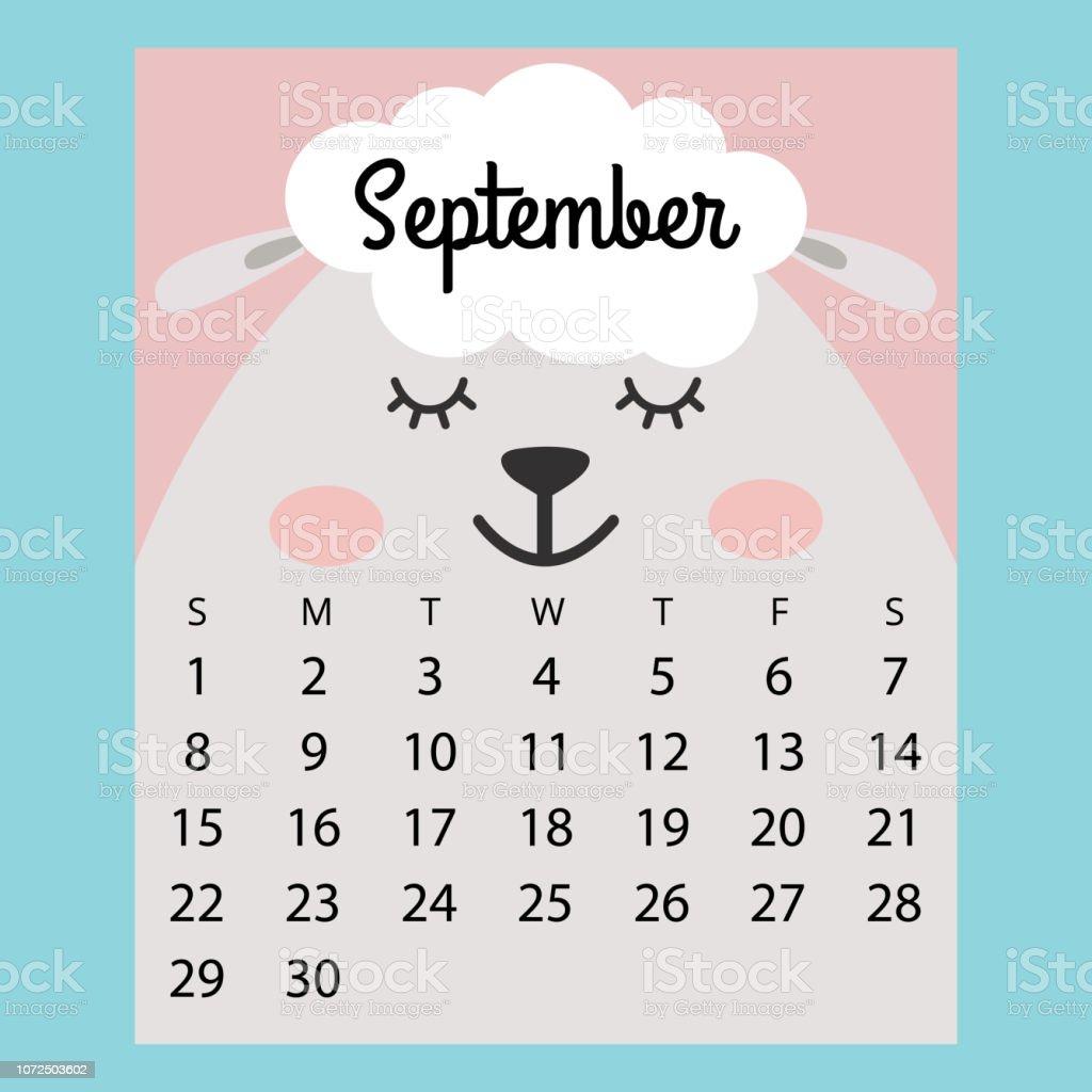 Calendario Dibujo Septiembre.Ilustracion De Calendario 2019 Ovejas De Dibujos Animados