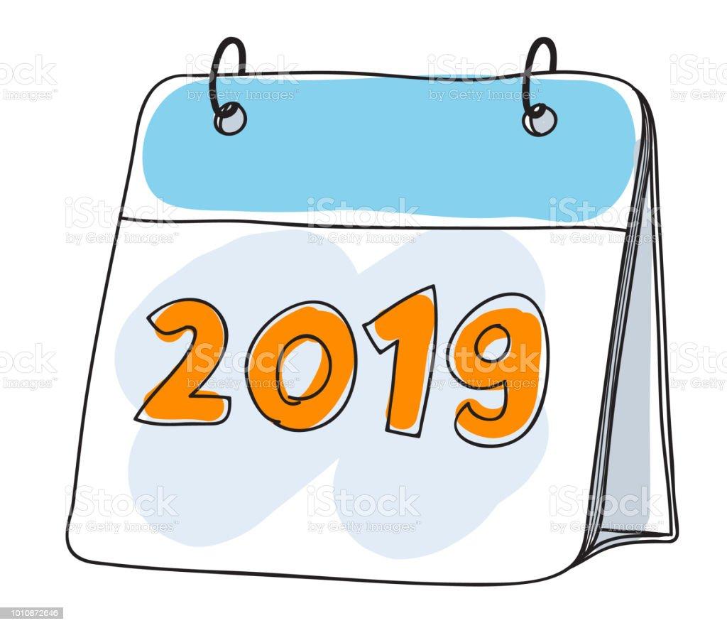 Illustration Calendrier.Calendar 2019 Cute Hand Drawn Art Vector Illustration Stock