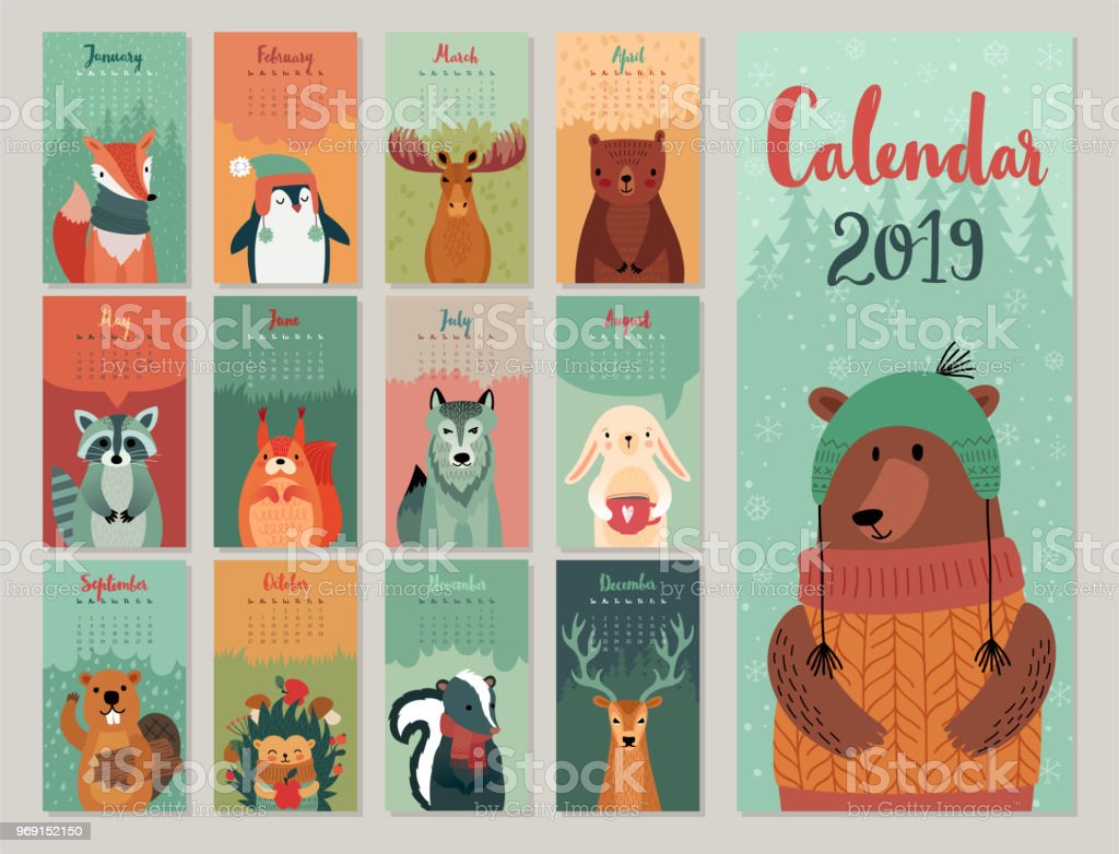 Calendar 2019. Cute monthly calendar with forest animals. Hand drawn style characters. vector art illustration