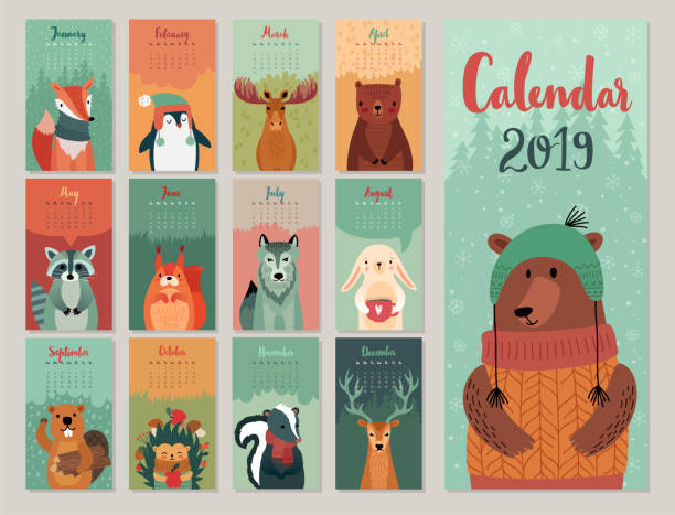 calendar 2019. cute monthly calendar with forest animals. hand drawn style characters. - animals calendar stock illustrations