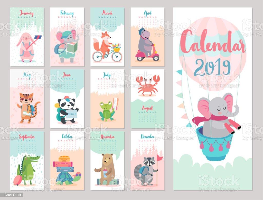 カレンダーの 2019 年。森の動物のかわいいカレンダー。 ベクターアートイラスト