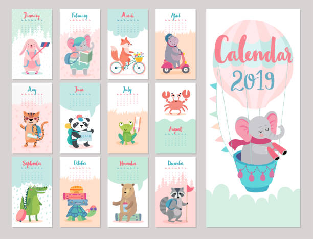 calendar 2019. cute monthly calendar with forest animals. - animals calendar stock illustrations