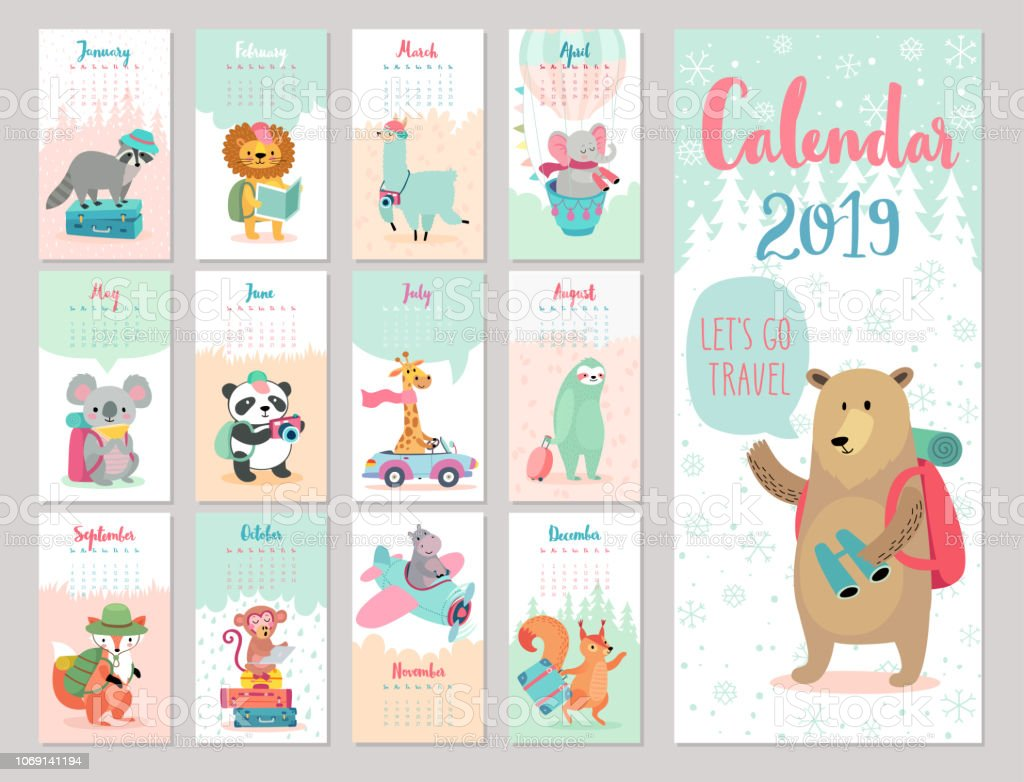 Calendar 2019. Cute monthly calendar with forest animals. vector art illustration
