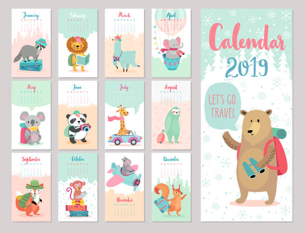 calendar 2019. cute monthly calendar with forest animals. - animals calendar stock illustrations, clip art, cartoons, & icons