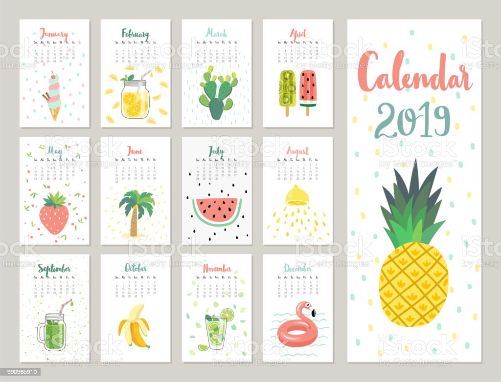 Calendar 2019. Cute monthly calendar with lifestyle objects, fruits, and plants. vector art illustration