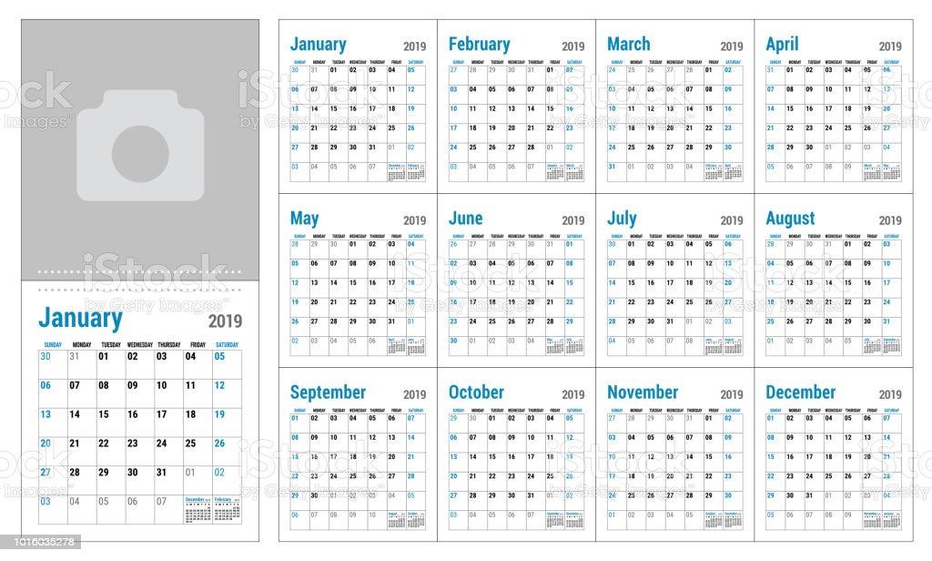 Kalender2019 Englisch Kalender Vorlage Vektorraster Buro