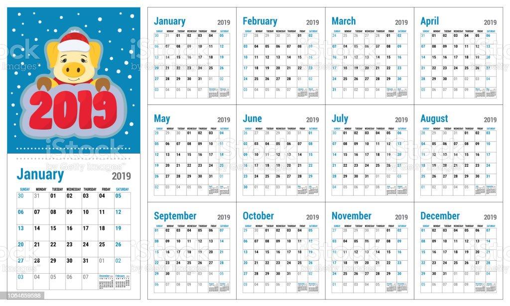 Calendario Vectores.Ilustracion De Calendario 2019 Plantilla Calendario Ingles