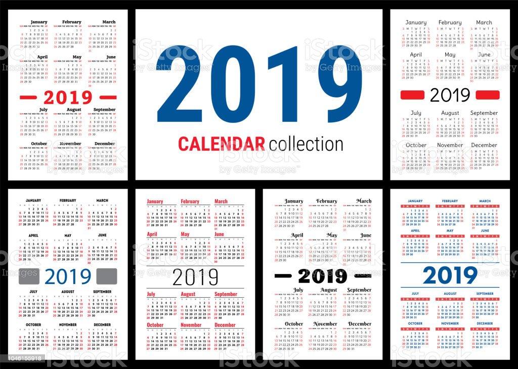 Calendar 2019 English Vector Template Big Collection Of Pocket