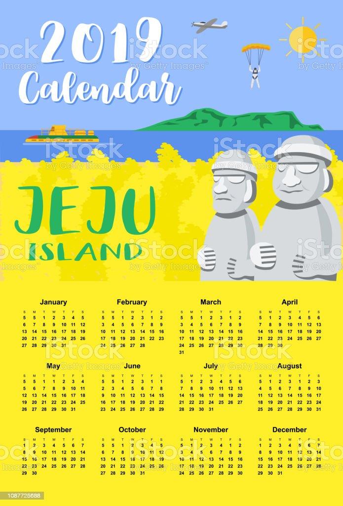 カレンダー 2019フラットなデザイン菜の花畑と済州 イラスト背景