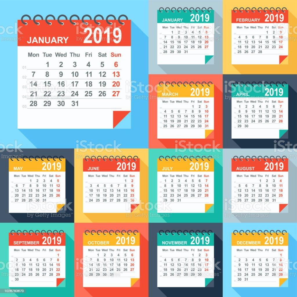 Calendario 2019 Moderno.Ilustracion De Calendario 2019 Colorido Plano Moderno Dias A