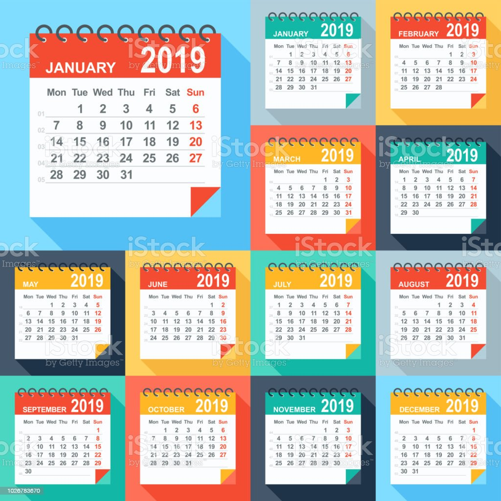 Calendar 2019 - Flat Modern Colorful. Days start from Monday vector art illustration