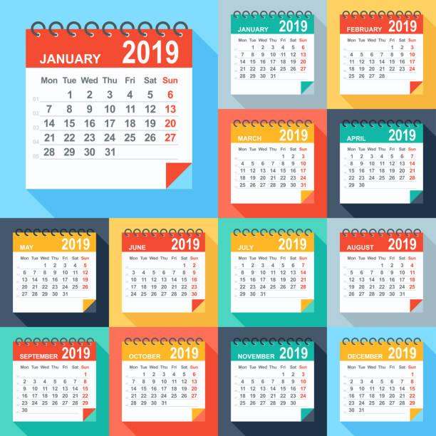 Calendar 2019 - Flat Modern Colorful. Days start from Monday Calendar 2019 - Flat Modern Colorful. Days start from Monday january stock illustrations