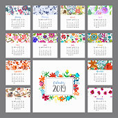 Calendar 2019. Floral calendar with colorful flowers. Vector illustration