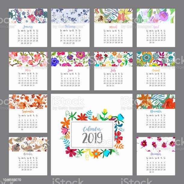 Calendar 2019 floral calendar with colorful flowers vector vector id1046159270?b=1&k=6&m=1046159270&s=612x612&h=136p5de vykeiwybevhp3krj75h1ro2a9 txeu3xemo=