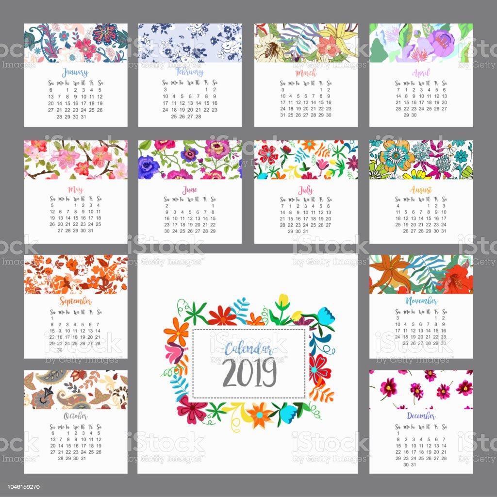 Calendario 2019. Calendario floral con flores de colores. Vector de - ilustración de arte vectorial