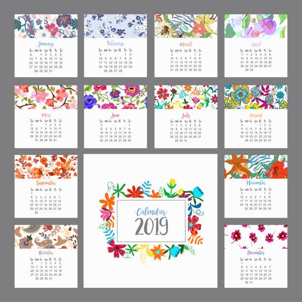ilustraciones, imágenes clip art, dibujos animados e iconos de stock de calendario 2019. calendario floral con flores de colores. vector de - calendario de flores