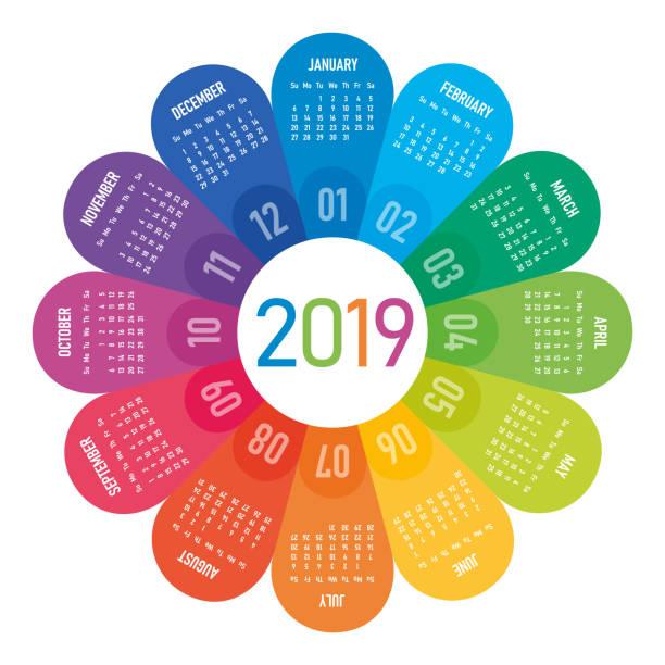 ilustraciones, imágenes clip art, dibujos animados e iconos de stock de calendario 2019 flor - calendario de flores