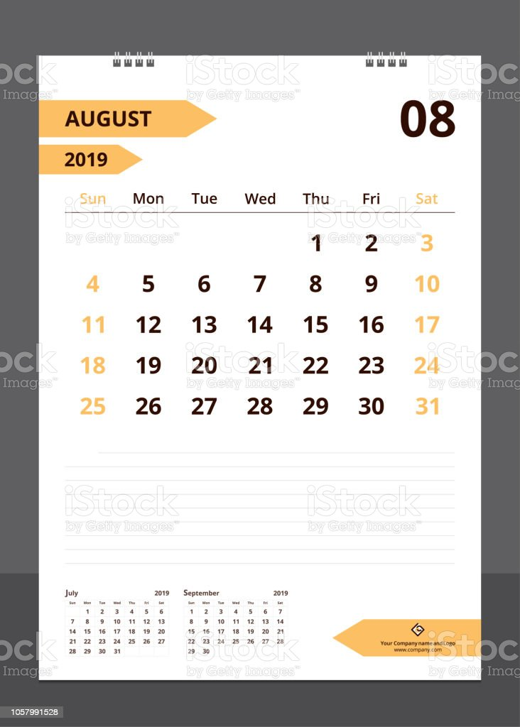 Calendar 2019 For Template Design Size A4 August Starts Week On