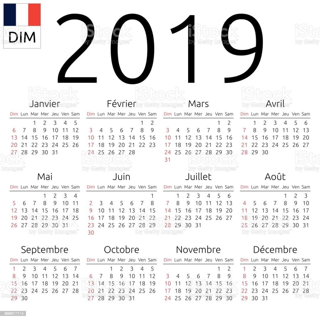 Kalender2019 Französisch Sonntag Stock Vektor Art und mehr Bilder ...