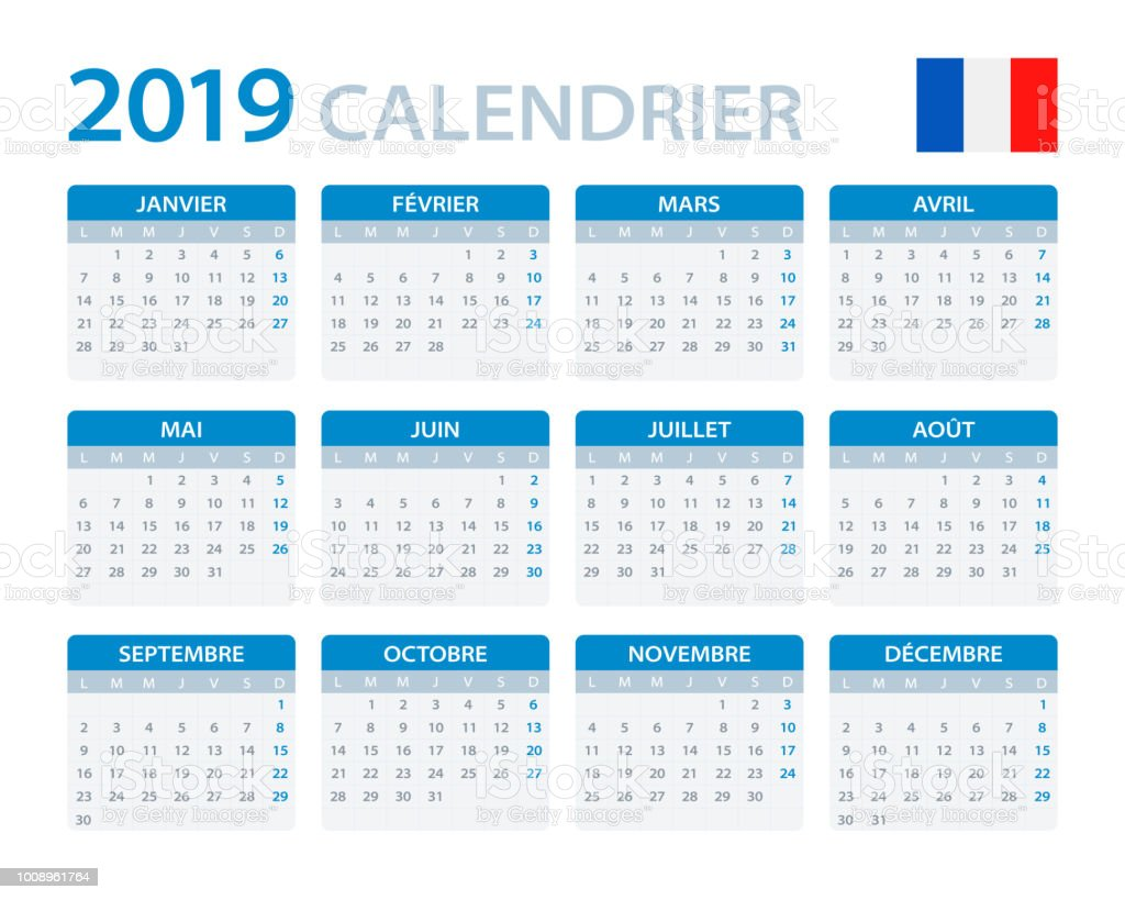 Calendrier Free 2019.Calendar 2019 French Version Stock Illustration Download