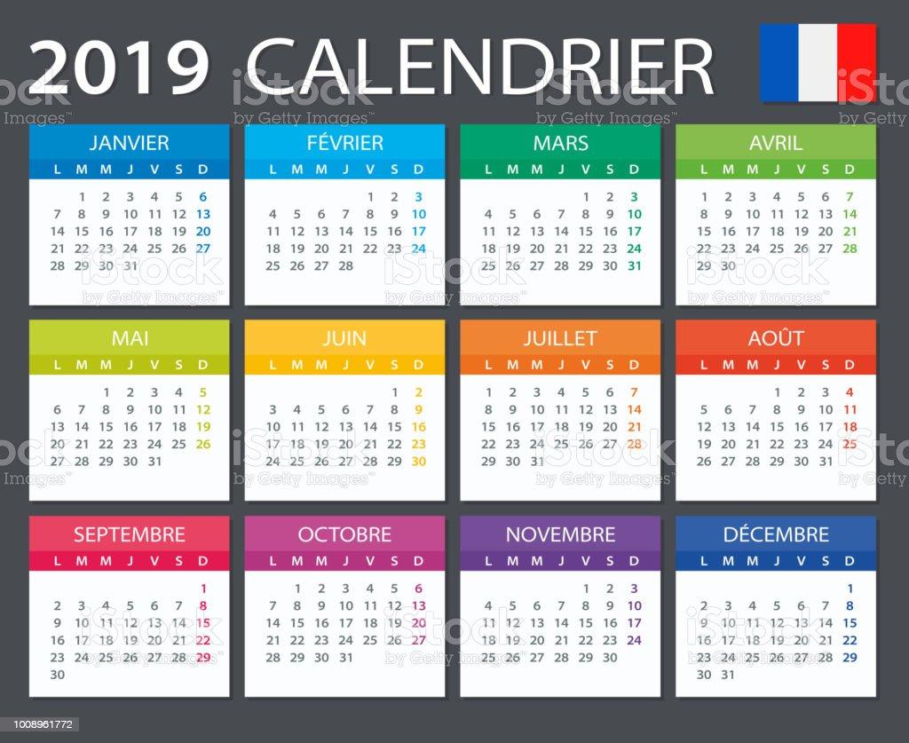 Calendrier Francais 2019.Calendrier 2019 Version Francais Vecteurs Libres De Droits