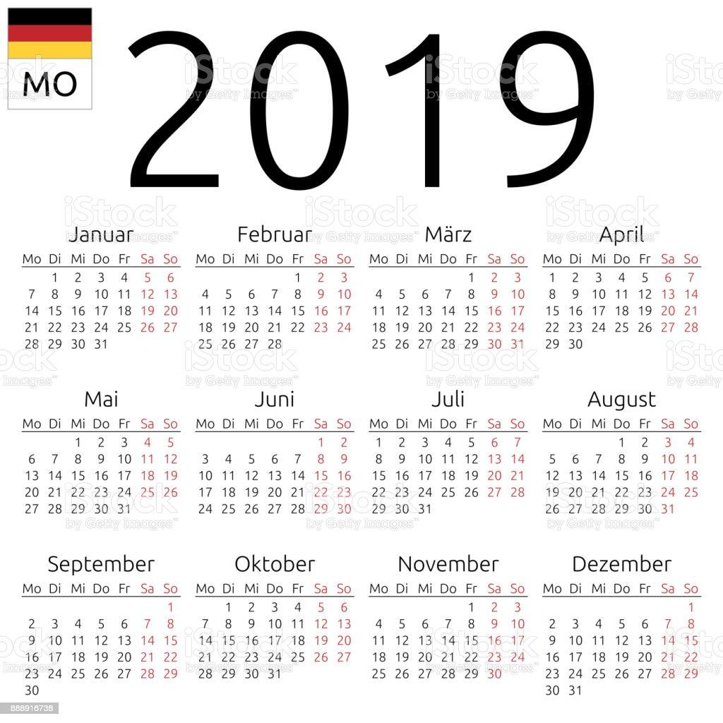 Takvim 2019 Almanca Pazartesi Stok Vektor Sanati 12 Sayisi Nin