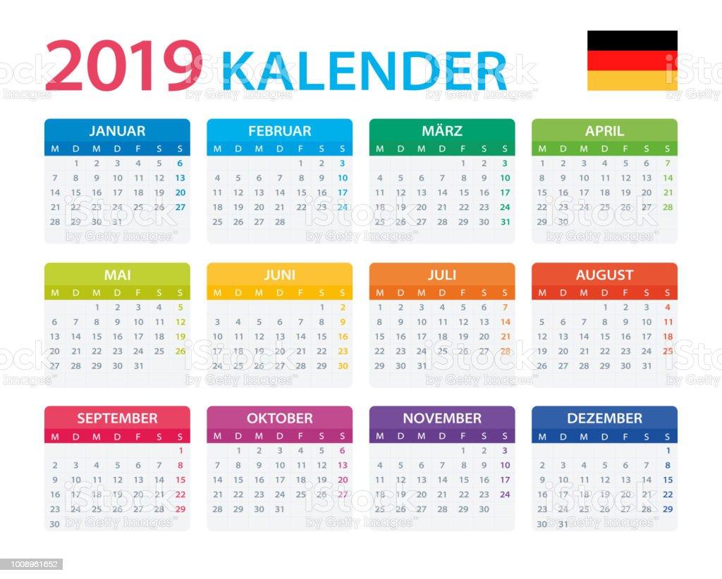calendar 2019 german version stock illustration download image now istock. Black Bedroom Furniture Sets. Home Design Ideas