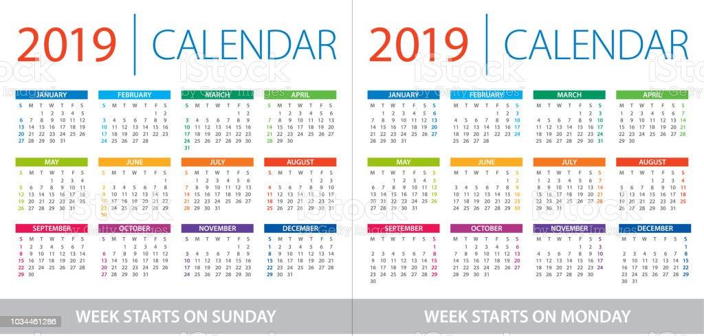 Calendario 2019 Week Number.Calendar 2019 Illustration Week Starts On Sunday And Week