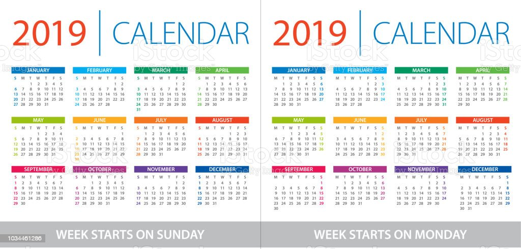 Calendar 2019 - illustration. Week starts on Sunday and Week starts on Monday vector art illustration