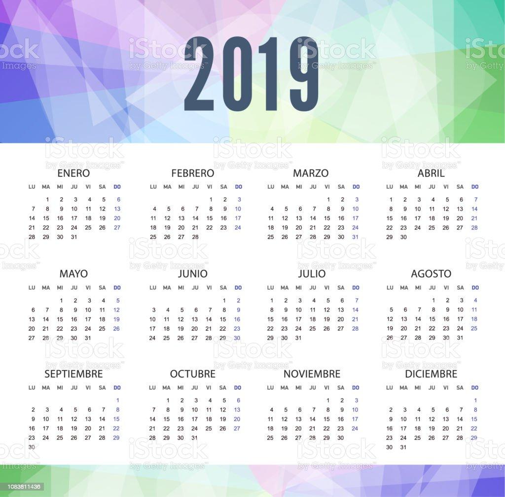 Calendario 2019 Moderno.Ilustracion De Calendario 2019 En Espanol En Estilo Moderno