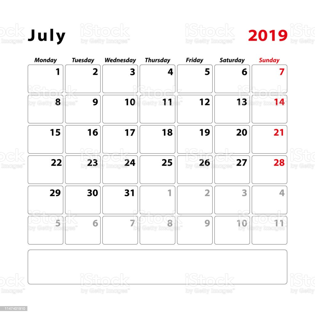 Julio Calendario 2019.Ilustracion De Calendario 2019 Julio Inicio Lunes Y Mas Vectores