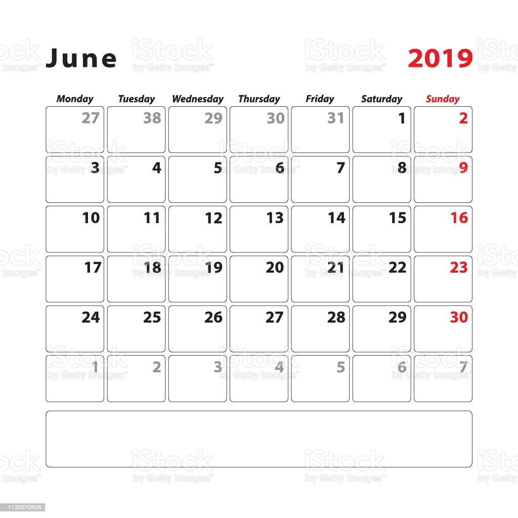 Junio Calendario 2019.Ilustracion De Inicio De Junio Calendario 2019 Lunes Y Mas Vectores